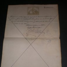 Documentos antiguos: DOCUMENTO CON SELLO TIMBRE O FISCAL, VALLADOLID, 1880 INTENDENCIA MILITAR CASTILLA LA VIEJA. Lote 45508329