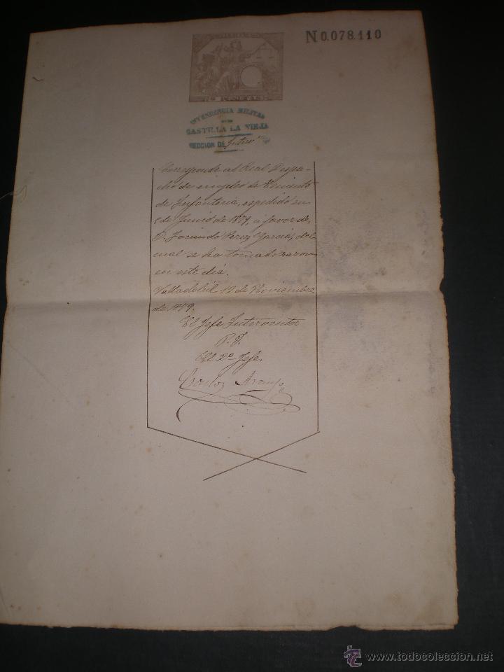 DOCUMENTO CON SELLO TIMBRE O FISCAL, VALLADOLID, 1879 INTENDENCIA MILITAR CASTILLA LA VIEJA (Coleccionismo - Documentos - Otros documentos)