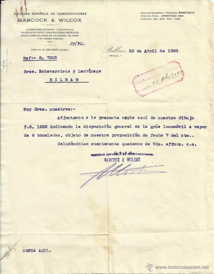IMPORTANTE DOCUMENTACION Y PLANO DE HORACIO ECHEVARRIETA GRUA DE VAPOR, BABCOCK Y WICOX 1930'S (Coleccionismo - Documentos - Otros documentos)