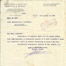 Documentos antiguos: IMPORTANTE DOCUMENTACION Y PLANO DE HORACIO ECHEVARRIETA GRUA DE VAPOR, BABCOCK Y WICOX 1930'S. Lote 45536250
