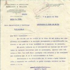 Documentos antiguos: IMPORTANTEO DOCUMENTO Y PRESUPUESTO DE HORACIO ECHEVARRIETA, BABCOCK Y WILCOX GRUA DE VAPOR 1930.. Lote 45540815