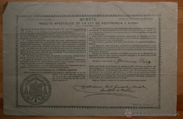 INDULTO APOSTOLICO DE LA LEY DE ABSTINENCIA Y AYUNO - 1916 - ARZOBISPO TOLEDO - 75 CÉNTIMOS (Coleccionismo - Documentos - Otros documentos)