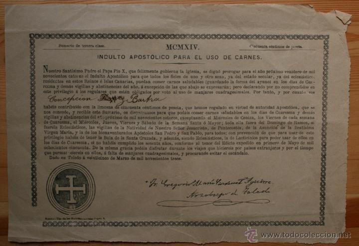 INDULTO APOSTOLICO PARA EL USO DE CARNES - 1914 - ARZOBISPO DE TOLEDO. 50 CÉNTIMOS DE PESETA (Coleccionismo - Documentos - Otros documentos)