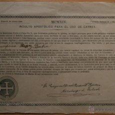 Documentos antiguos: INDULTO APOSTOLICO PARA EL USO DE CARNES - 1914 - ARZOBISPO DE TOLEDO. 50 CÉNTIMOS DE PESETA. Lote 45716978