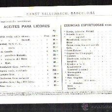 Documentos antiguos: ERNST KALLENBACH. BARCELONA. PRECIOS. ACEITES Y ESENCIAS PARA LICORES. AROMAS DE VINOS. VER. Lote 45719866