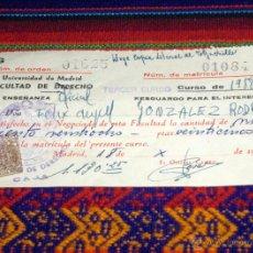 Documentos antiguos: MATRÍCULA FACULTAD DE DERECHO 1958. UNIVERSIDAD DE MADRID. CON SELLOS. BUEN ESTADO.. Lote 45722723
