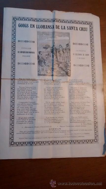GOIGS / EN LLOHANSA DE LA SANTA CREU / 7ª EDICIÓ / 1921 (Coleccionismo - Documentos - Otros documentos)