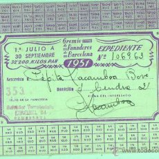 Documentos antiguos: CARTILLA TARJETA DEL GREMIO DE PANADEROS DE BARCELONA 1951 . Lote 45831387