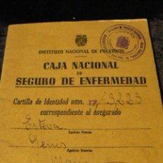 Documentos antiguos: DOCUMENTO CAJA NACIONAL DE SEGURO DE ENFERMEDAD 1944. Lote 45908185