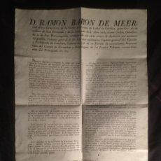 Documentos antiguos: ORDEN DE D. RAMÓN BARON DE MEER, CAPITAN GENERAL DEL EJERCITO Y PRINCIPADO DE CATALUÑA 1838. Lote 45918224