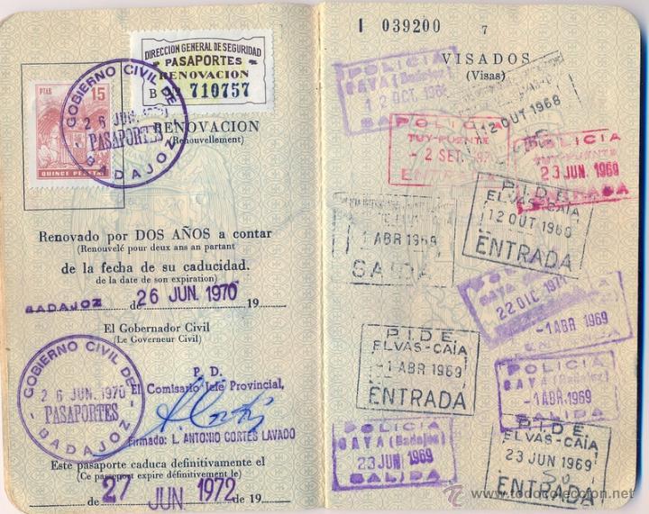 Pasaporte espa ol 1968 matrimonio emitido en comprar for Pasaporte ministerio interior