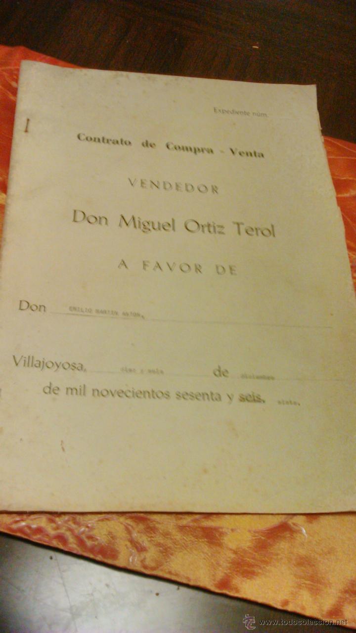 CONTRATO DE COMPRA-VENTA DE INMUEBLE. 1966/67. VILLAJOYOSA. (Coleccionismo - Documentos - Otros documentos)