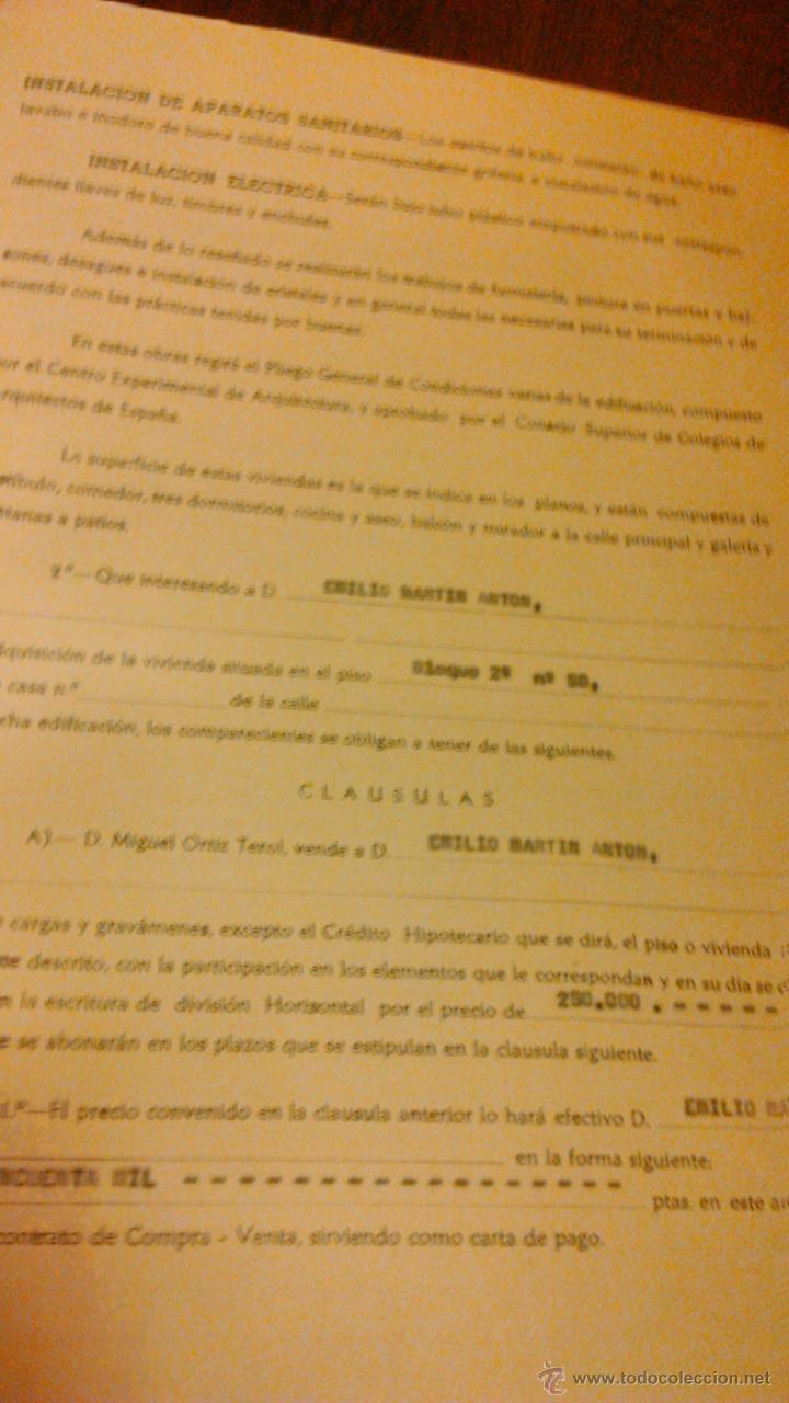 Documentos antiguos: Contrato de compra-venta de inmueble. 1966/67. Villajoyosa. - Foto 6 - 45977176