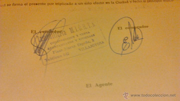 Documentos antiguos: Contrato de compra-venta de inmueble. 1966/67. Villajoyosa. - Foto 9 - 45977176