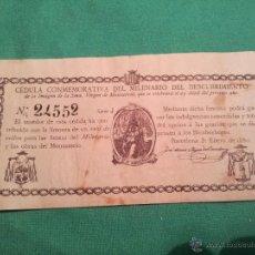 Documentos antiguos: CEDULA CONMEMORATIVA DEL MILENARIO DEL DESCUBRIMIENTO VIRGEN DE MONTSERRAT..NUMERADA .AÑO.1880. Lote 46055420