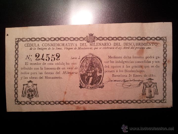 Documentos antiguos: cedula conmemorativa del milenario del descubrimiento virgen de montserrat..numerada .año.1880 - Foto 2 - 46055420