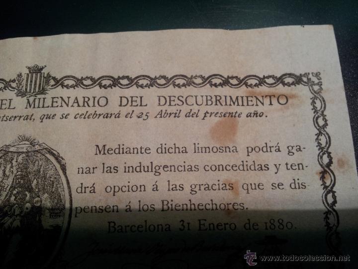 Documentos antiguos: cedula conmemorativa del milenario del descubrimiento virgen de montserrat..numerada .año.1880 - Foto 3 - 46055420