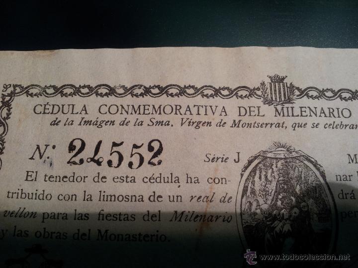 Documentos antiguos: cedula conmemorativa del milenario del descubrimiento virgen de montserrat..numerada .año.1880 - Foto 4 - 46055420