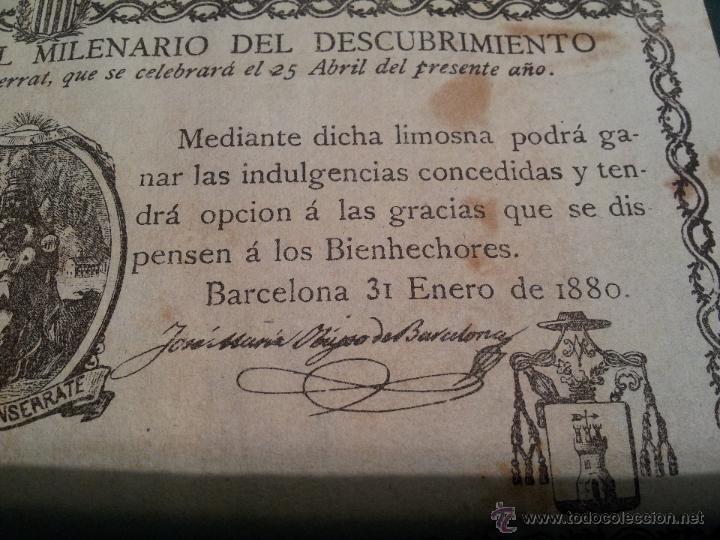 Documentos antiguos: cedula conmemorativa del milenario del descubrimiento virgen de montserrat..numerada .año.1880 - Foto 5 - 46055420