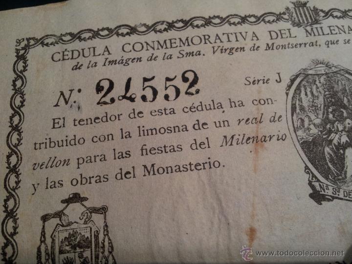Documentos antiguos: cedula conmemorativa del milenario del descubrimiento virgen de montserrat..numerada .año.1880 - Foto 6 - 46055420
