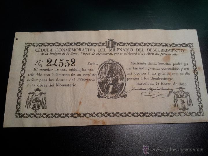 Documentos antiguos: cedula conmemorativa del milenario del descubrimiento virgen de montserrat..numerada .año.1880 - Foto 7 - 46055420