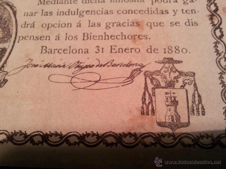 Documentos antiguos: cedula conmemorativa del milenario del descubrimiento virgen de montserrat..numerada .año.1880 - Foto 8 - 46055420