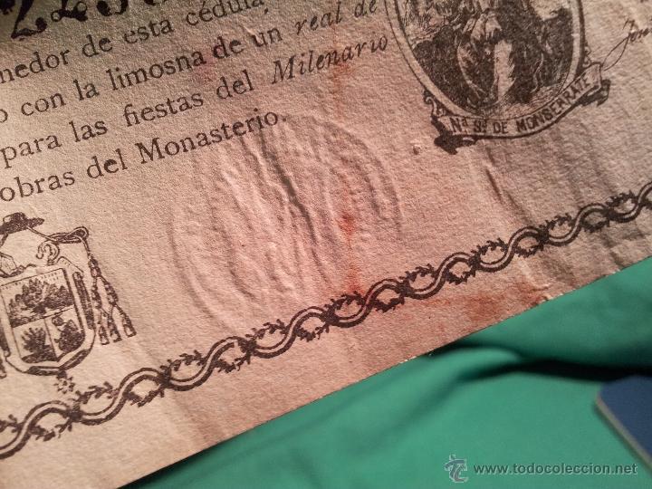 Documentos antiguos: cedula conmemorativa del milenario del descubrimiento virgen de montserrat..numerada .año.1880 - Foto 9 - 46055420