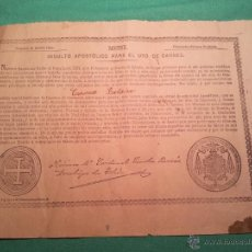Documentos antiguos: INDULTO APOSTOLICO PARA EL USO DE CARNES. DE LEON XIII. 1901. 50 CENTIMOS . Lote 46064239