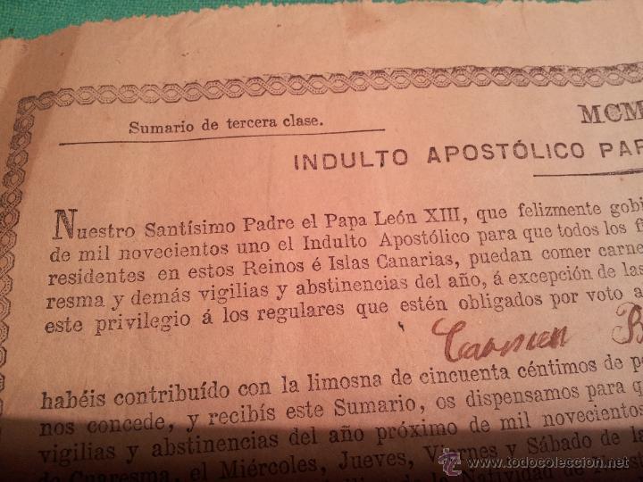 Documentos antiguos: INDULTO APOSTOLICO PARA EL USO DE CARNES. DE LEON XIII. 1901. 50 CENTIMOS - Foto 2 - 46064239