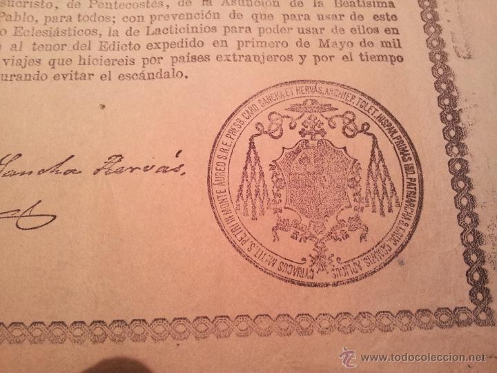Documentos antiguos: INDULTO APOSTOLICO PARA EL USO DE CARNES. DE LEON XIII. 1901. 50 CENTIMOS - Foto 4 - 46064239