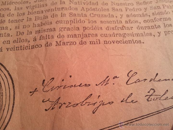 Documentos antiguos: INDULTO APOSTOLICO PARA EL USO DE CARNES. DE LEON XIII. 1901. 50 CENTIMOS - Foto 5 - 46064239
