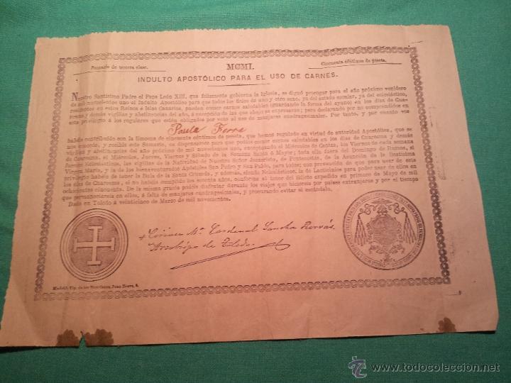 INDULTO APOSTOLICO PARA EL USO DE CARNES. DE LEON XIII. 1901. 50 CENTIMOS (Coleccionismo - Documentos - Otros documentos)