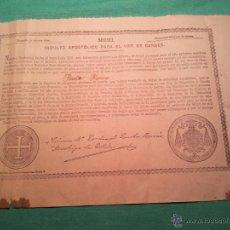 Documentos antiguos: INDULTO APOSTOLICO PARA EL USO DE CARNES. DE LEON XIII. 1901. 50 CENTIMOS . Lote 46064281