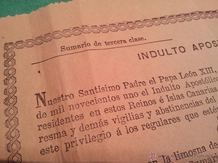 Documentos antiguos: INDULTO APOSTOLICO PARA EL USO DE CARNES. DE LEON XIII. 1901. 50 CENTIMOS - Foto 3 - 46064281
