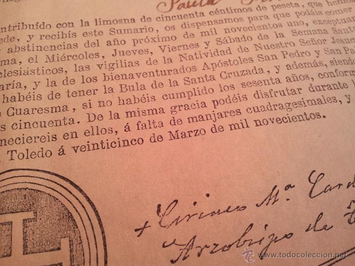 Documentos antiguos: INDULTO APOSTOLICO PARA EL USO DE CARNES. DE LEON XIII. 1901. 50 CENTIMOS - Foto 4 - 46064281