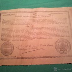 Documentos antiguos: INDULTO APOSTOLICO PARA EL USO DE CARNES. DE LEON XIII. 1901. 50 CENTIMOS . Lote 46064313