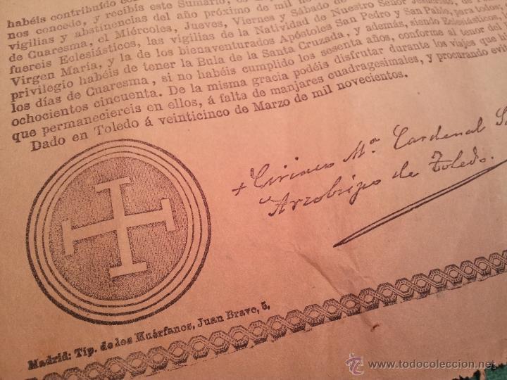 Documentos antiguos: INDULTO APOSTOLICO PARA EL USO DE CARNES. DE LEON XIII. 1901. 50 CENTIMOS - Foto 2 - 46064313