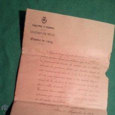 Documentos antiguos: BANDO CIRCULAR PROGRAMA DEL CONCURSO PROVINCIAL DE BANDAS REUS-TARRAGONA 1904. Lote 46111811