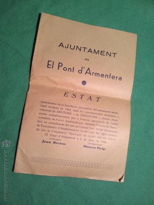 ESTAT AÑO 1934 .PONT D´ARMENTERA. (Coleccionismo - Documentos - Otros documentos)