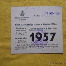 Documentos antiguos: CENSO DE VEHÍCULOS SUJETOS A REQUISA MILITAR. AÑO 1957. AYUNTAMIENTO DE VALENCIA. Lote 46373959