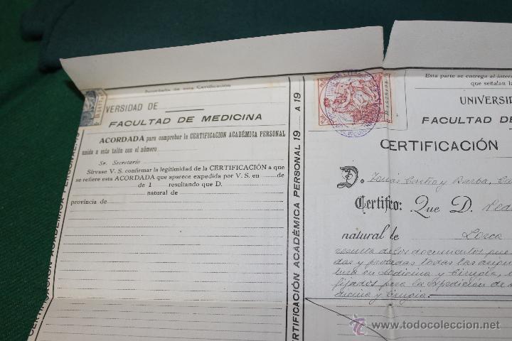CERTIFICACION ACADEMICA UNIVERSIDAD SEVILLA, FACULTAD MEDICINA CADIZ 1920-1921 (Coleccionismo - Documentos - Otros documentos)