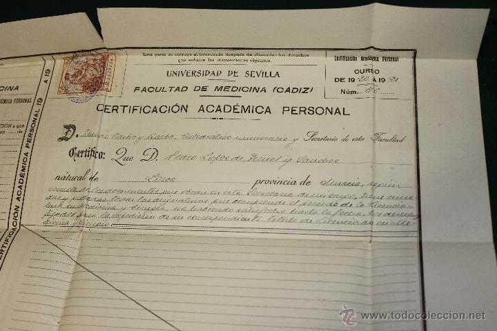 Documentos antiguos: CERTIFICACION ACADEMICA UNIVERSIDAD SEVILLA, FACULTAD MEDICINA CADIZ 1920-1921 - Foto 2 - 46425001