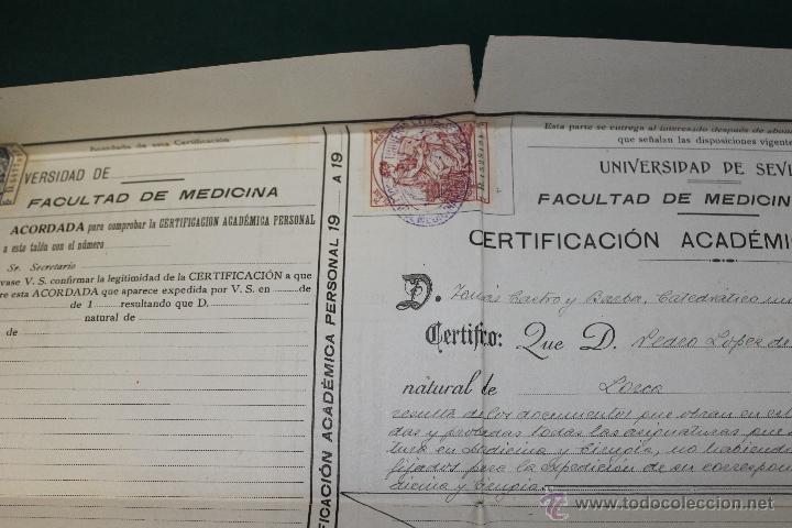 Documentos antiguos: CERTIFICACION ACADEMICA UNIVERSIDAD SEVILLA, FACULTAD MEDICINA CADIZ 1920-1921 - Foto 3 - 46425001