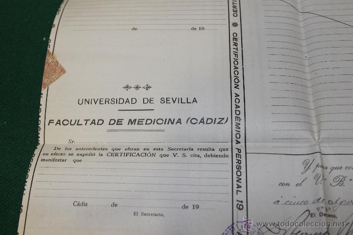 Documentos antiguos: CERTIFICACION ACADEMICA UNIVERSIDAD SEVILLA, FACULTAD MEDICINA CADIZ 1920-1921 - Foto 4 - 46425001