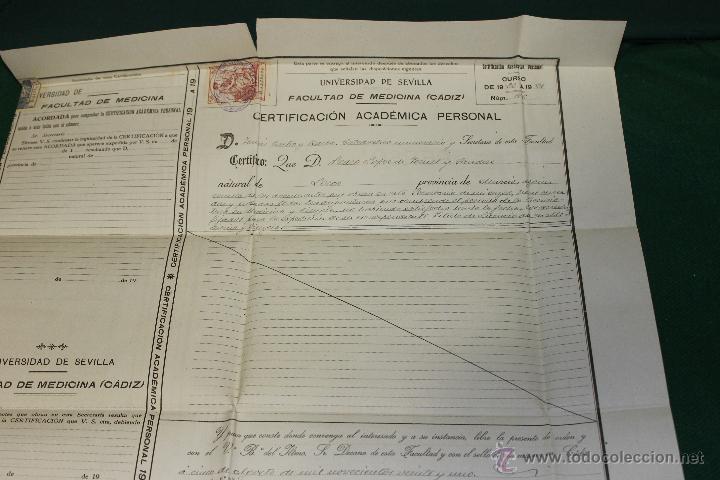 Documentos antiguos: CERTIFICACION ACADEMICA UNIVERSIDAD SEVILLA, FACULTAD MEDICINA CADIZ 1920-1921 - Foto 5 - 46425001