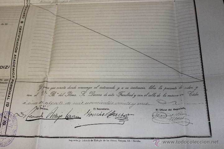 Documentos antiguos: CERTIFICACION ACADEMICA UNIVERSIDAD SEVILLA, FACULTAD MEDICINA CADIZ 1920-1921 - Foto 6 - 46425001