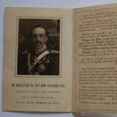 Documentos antiguos: 1941 RECORDATORIO DEL FALLECIMIENTO DEL REY DON ALFONSO XIII. Lote 46434729