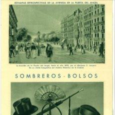 Documentos antiguos: DIPTICO PUBLICIDAD MAGRIÑA SOMBREROS BOLSOS PUERTA DEL ANGEL BARCELONA. TARJETA COMERCIAL. Lote 46481765