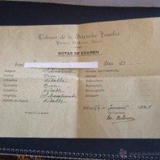 Documentos antiguos: NOTAS DE EXAMEN - COLEGIO SAGRADA FAMILIA - MALAGA 1941. Lote 46539643