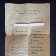 Documentos antiguos: COLEGIO SAGRADA FAMILIA - MALAGA - PREMIOS OBTENIDOS DURANTE EL CURSO 1938 1939. Lote 46539819